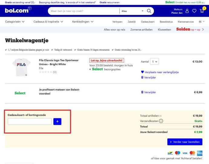Bolcom online code invoeren in dit veldje