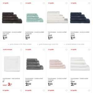 selectie handdoeken: vaak 3+1 gratis